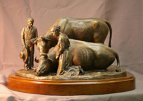 His Mothers Faith bronze sculpture of Mary Fielding Smith and Oxen by Stan Watts and Kim Corpany by Stan Watts and Kim Corpany