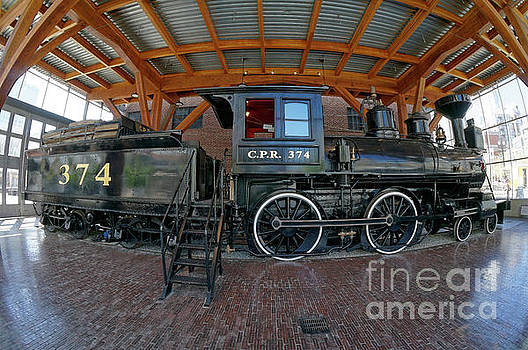 Historic Canadian Pacific Railway Engine Fisheye by John  Mitchell