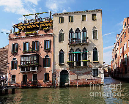 Historic houses and canals in Venice Italy by Louise Heusinkveld