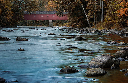 Historic West Cornwall Covered Bridge- Indian Summer by Skyelyte Photography by Linda Rasch