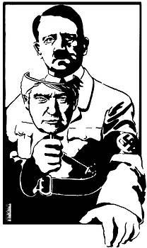 HItler holding Trump Mask by Dustin Spagnola