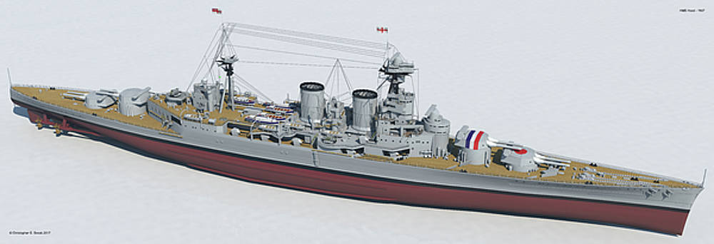 HMS Hood 1937 - Bow To Stern Tech by Christopher Snook