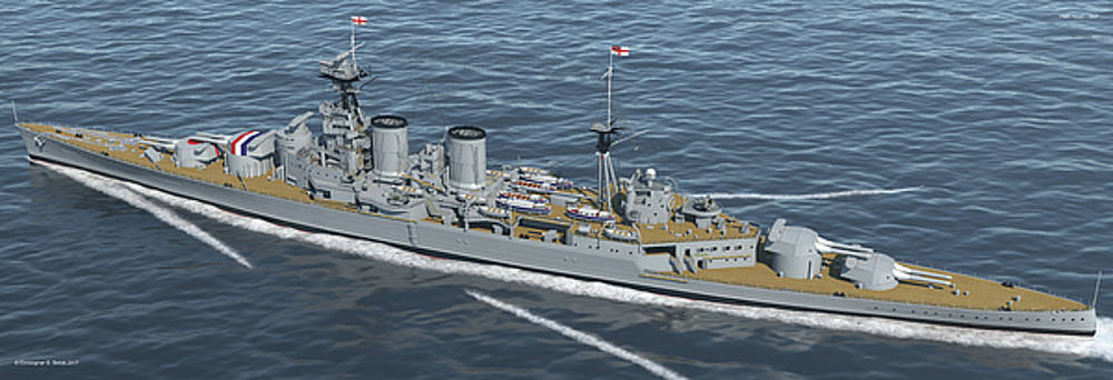 HMS Hood 1937 - Stern To Bow - Med Sea by Christopher Snook