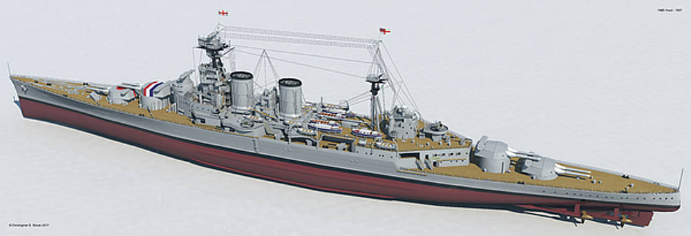 HMS Hood 1937 - Stern To Bow Tech by Christopher Snook