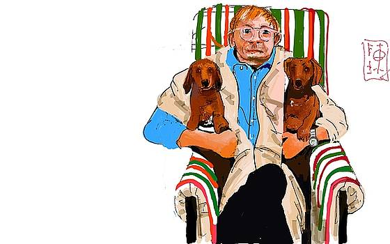 Hockney  with Dachshunds 1 by Debbi Saccomanno Chan