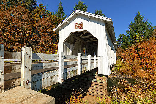 Hoffman Bridge over Crabtree Creek in Fall by David Gn