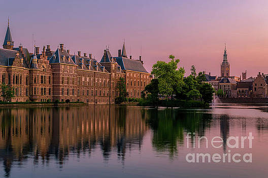 Hofvijver lake at Sunset, The Hague, Netherlands by Sinisa CIGLENECKI