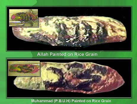 HOLLY NAMES ALLAH and MUHAMMADP.B.U.H calligraphy on Single Rice Grain by Qaseem Ur- Rahim