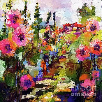 Hollyhock Garden Path Modern Impressionism by Ginette Callaway