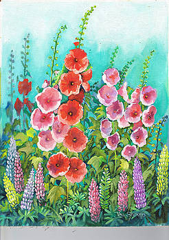 Hollyhocks And Lupines by Val Stokes