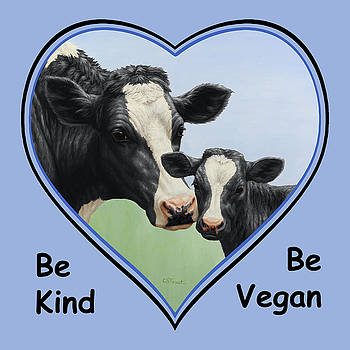 Crista Forest - Holstein Cow and Calf Blue Heart Vegan