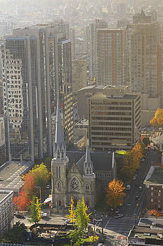 Reimar Gaertner - Holy Rosary Catholic church cathedral surrounded by buildings in