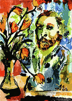 Ginette Callaway - Homage to VanGogh Tulips and Portrait