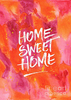Beverly Claire Kaiya - Home Sweet Home Handpainted Abstract Orange Pink Watercolor