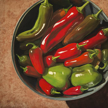 Homegrown Peppers by Xenia Sease