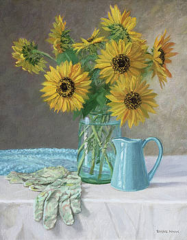 Homegrown - Sunflowers in a Mason jar with gardening gloves and blue cream pitcher by Bonnie Mason