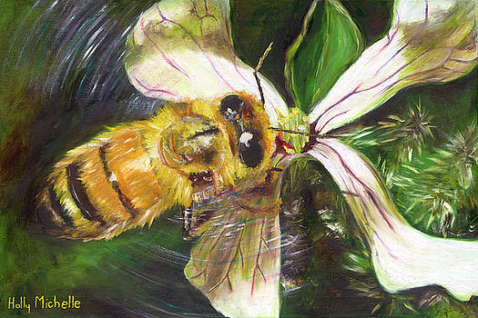 Honey Bee on Arugula by Holly Michelle Hargus