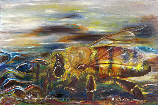 Honey Bee on Water by Holly Michelle Hargus