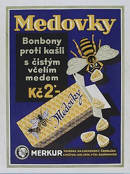 Honey-flavoured cough sweets in the form of bees. Colour lithograph, ca. 1900. by Vintage Printery
