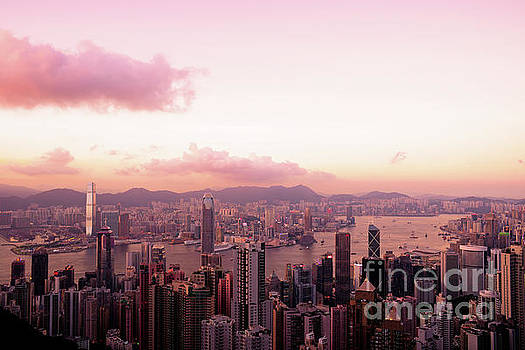 Hong Kong Skyline During Sunset by Chris Smith