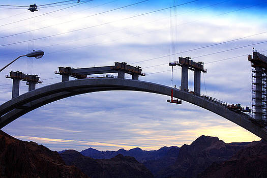Hoover Dam Bridge Under Construction by Barbara Teller