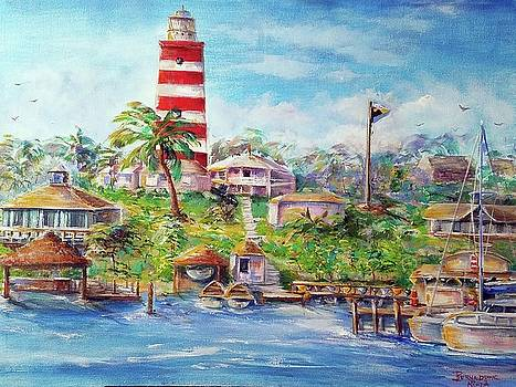 Hope Town Lighthouse Bahamas  by Bernadette Krupa
