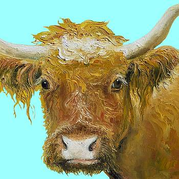 Jan Matson - Horned Cow painting on blue background