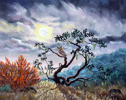 Laura Iverson - Horned Owl on Moonlit Oak Tree