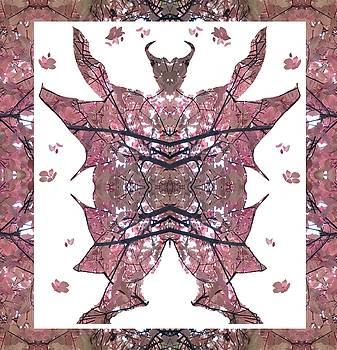 Horned, Winged, Hoofed Man 2 with leaf frame by Julia Woodman