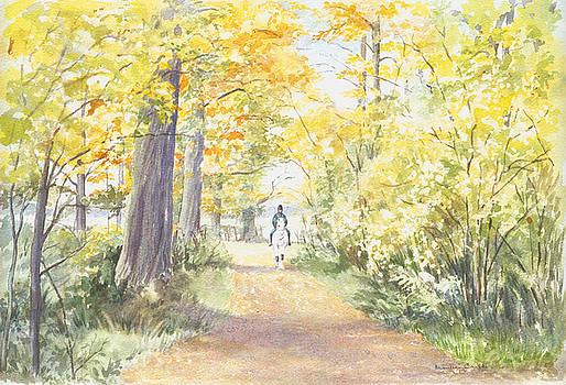 Horse and rider coming along the Byeway by Maureen Carter