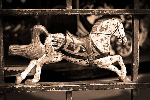 Horse Carousel Antiqued by Donna Betancourt