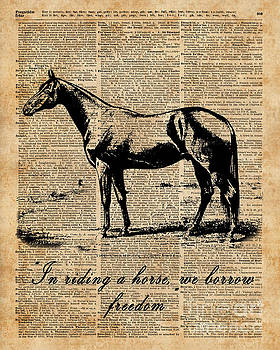 Horse Champion Colt Over Vintage Dictionary Page by Anna W