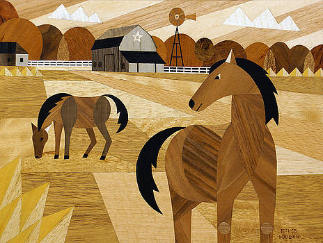 Horse Farm Marquetry New Photo-Image by Bruce Bodden