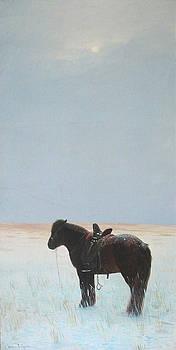 Horse In Snowfield  by Ji-qun Chen