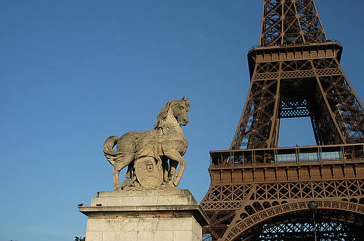 Horse Lover's View of the Eiffel Tower by Alynne Landers