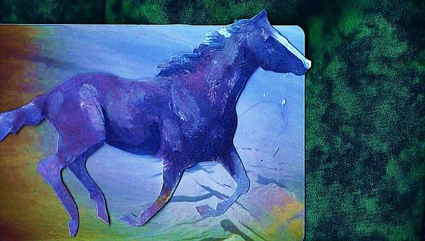 Horse  of Blues Collage by Anne-elizabeth Whiteway