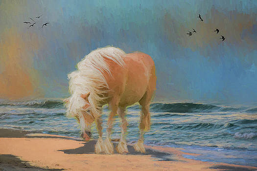 Horse on the Beach - Painting by Ericamaxine Price