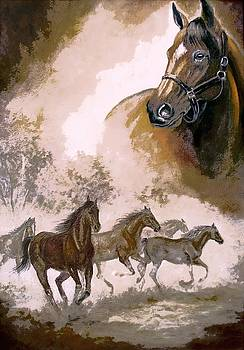 Horse Painting A dream of running wild by Regina Femrite