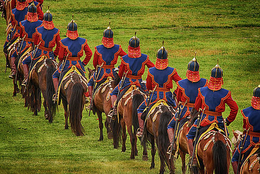 Horse Riders at the Mongolian Nadaam Festival by Donna Caplinger