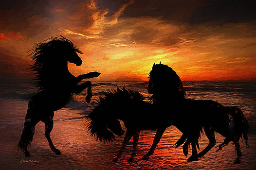Horse Silhouettes at the Beach - Painting by Ericamaxine Price