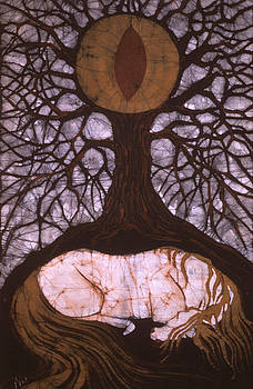 Horse Sleeps Below Tree of Rebirth by Carol  Law Conklin