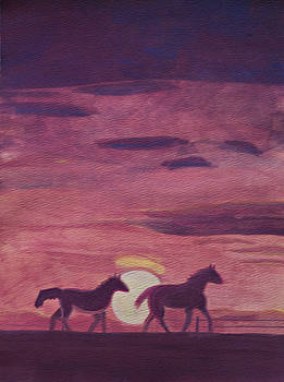 Horse Sunrise by Desiree Aguirre