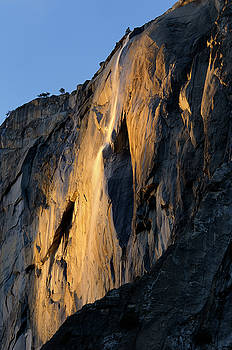 Reimar Gaertner - Horse Tail Fall on El Capitan lit by the last orange rays of sun