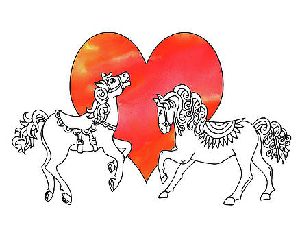 Irina Sztukowski - Horses And Heart Watercolor