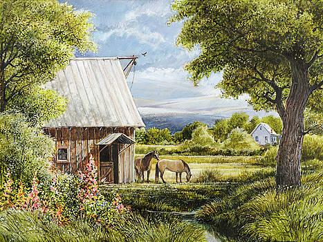 Horses and Hollyhocks by Steve Spencer