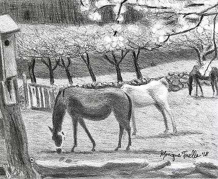 Horses and Trees in Bloom by Monique Faella