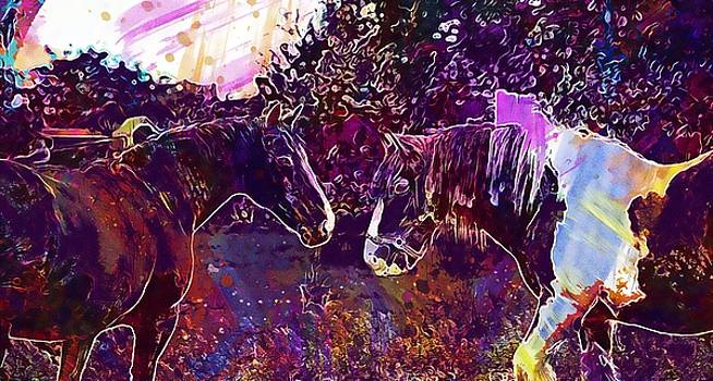 Horses Equine Equestrian Animal  by PixBreak Art