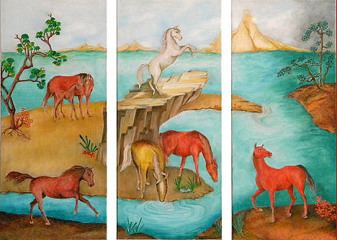 Horses in Triptych by Miriam Besa