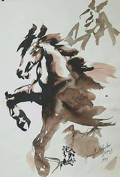 Jamey Balester - Horses Ink wash