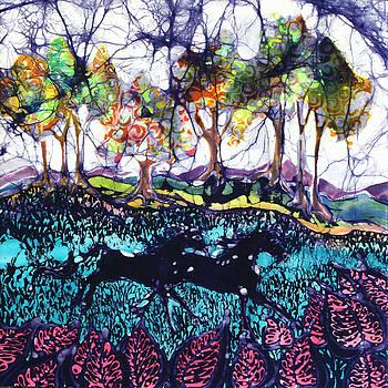 Horses Running Below Hills by Carol  Law Conklin